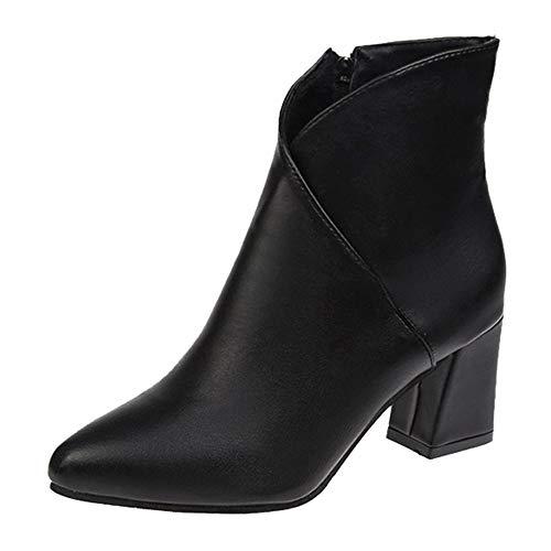 MYMYG Damen Chelsea Boots Frauen High Heel Schuhe Martain Boot Leder einfarbig Pointed Toe Zipper Schuhe Ankle Boots mit Halbhohe Blockabsatz Freizeitschuhe