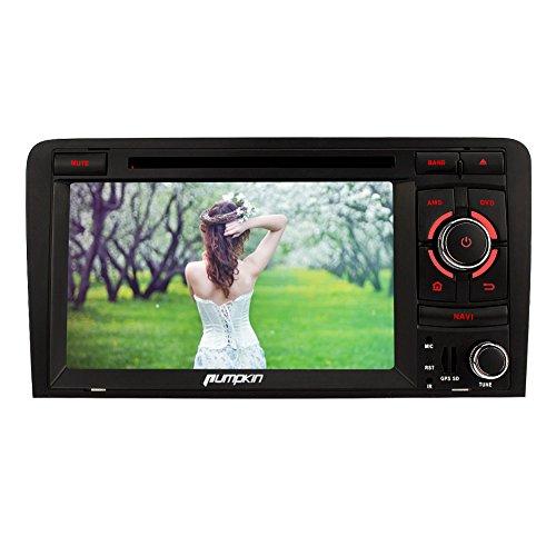 PUMPKIN 2 Din Autoradio DVD Player Moniceiver 7 Zoll Android 5.1 Lollipop für Audi A3 2003 - 2011 mit GPS Navigation Bluetooth Hochauflösung Touchscreen 1024*600 unterstützt DAB+ OBD2 Wifi 3G