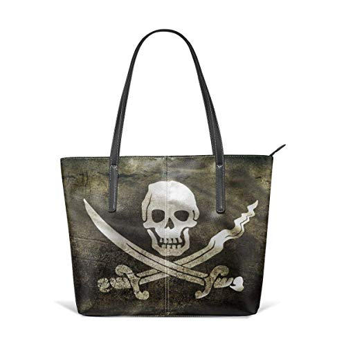 XGBags Flag Pirate Skull Men Women Leather Tote Bags Satchel Top Handle Bags Shoulder Leisure Handbags For Ladies Shopping Bag Office Briefcase Tote Umhängetaschen