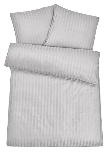 Luxuriöse Damast-Bettwäsche in exklusiver Hotelqualität 135 x 200 cm Silber Grau aus 100 % Baumwolle für besten Schlafkomfort – Hotel-Bettwäsche Set mit Kopfkissen-Bezug und edlen Damast-Streifen (Luxus-bettwäsche)