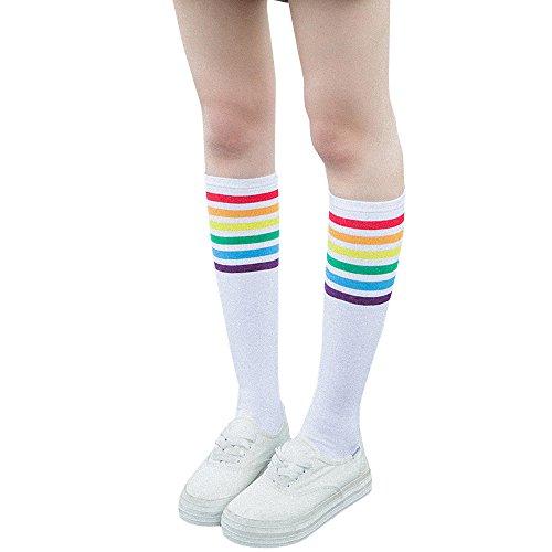 Likecrazy Thigh High Socks Bunt Gemusterte Damen Socken Over Knee bunt, bequem Rainbow Stripe Girls Football Socen (Weiß)
