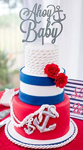 Ethelt5IV Nautische Baby Dusche AHOI Baby Cake Topper Baby Dusche Kuchen Baby Shower Decor Nautische Baby Dusche Dekorationen Geschlecht offenbaren Kuchen