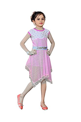 White World Baby Girls Pink Color Birthday Party wear Frock Dress