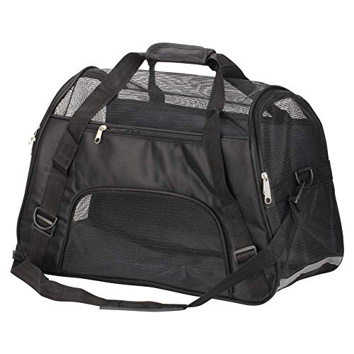Bearhouse Transporttasche Hund Katze Hundetransporttasche Hundetragetasche Tragetasche 52 x 27 x 32 Zentimeter (Schwarz)