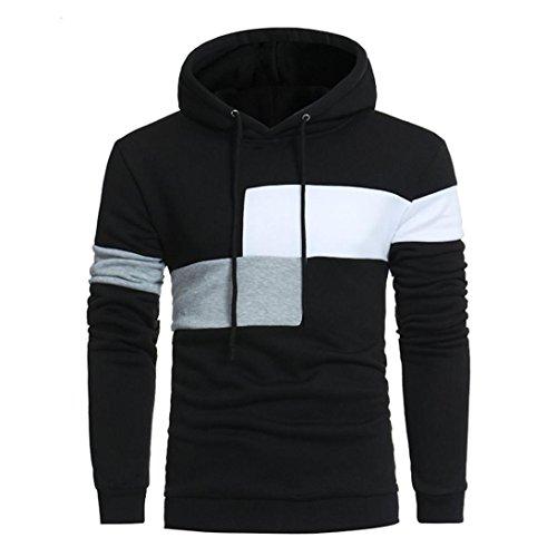 Hoodie Herren Männer Nähen Farbe Langarm Mantel Jacke Sport Tops Outwear GreatestPAK,Schwarz,XXL