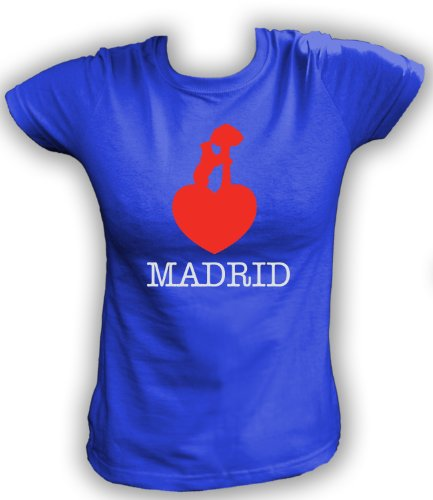 Artdiktat T-Shirt Madrid Liebe Bär Damen, Größe XL, blau