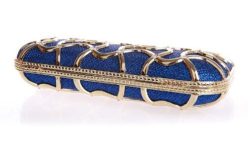 KAXIDYDiamante Scatola Pochette Da Sera Elegante Duro Borsetta Blu