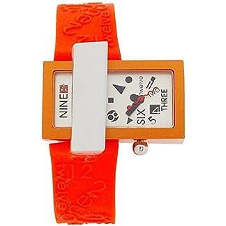El tiempo de Quantum Kool análogo de puerto de color naranja de silicona de la correa de la manera de las señoras reloj de pulsera para mujer KT70