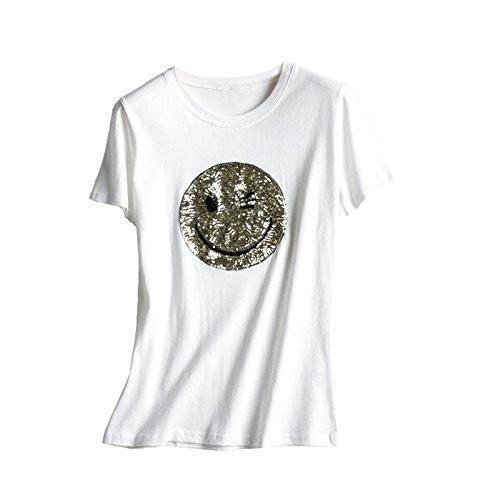 ACVIP Femme T-shirt à Manche Courte Motif Visage Souriant Paillette en Coton Top Eté Blanc