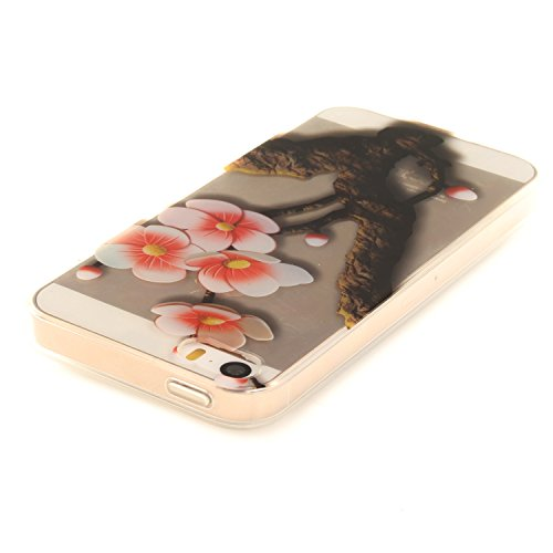 iPhone 5S Hülle,iPhone SE Hülle,iPhone 5 Hülle,iPhone SE 5S 5 Schutzhülle Case,ikasus® TPU Silikon Schutzhülle Case Hülle für iPhone SE 5S 5,Durchsichtig mit Bunte Kunst Gemaltes Muster Handyhülle iPh Blumen Pflaumenblüte #2