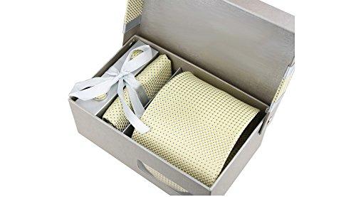 Coffret Jakarta - Cravate jaune doré à motifs carrés et petits carrés bleus, boutons de manchette, pince à cravate, pochette de costume