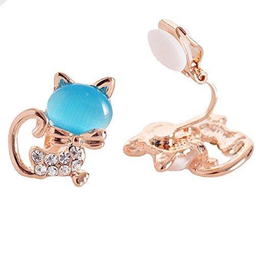 BFF Jewelry Damen-Ohrclips süßer Fuchs süße Tiere Katze Blau Katzenauge Stein Schmuck für Teenager Mädchen Geschenk
