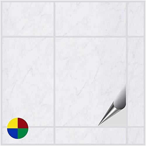 FoLIESEN Fliesenaufkleber 20x25 cm - Fliesen-Folie Bad - Klebefolie Küche - 4 Klebefliesen, Dekor White Marble - White Vinyl Top Küche