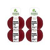 100% Premium Kaschmir Wolle in 12 Farben (weich & kratzfrei) - 100g Set (4 x 25g) Fingering - Edle Cashmere Wolle zum Stricken & Häkeln von Hansa-Farm - Dunkelrot/Bordeaux (Rot)