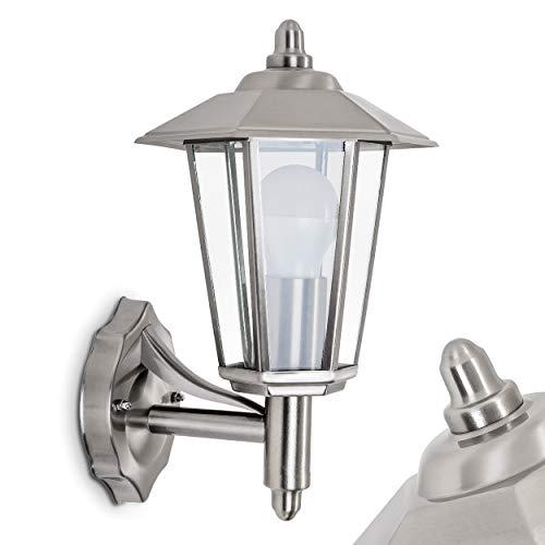 Außenwandleuchte Moskau, moderne Wandlampe aufwärts aus Metall u. Glas in Edelstahl, Wandleuchte m. E27-Fassung, max. 60 Watt, Außenleuchte IP 44 für Terrasse u. Hof, geeignet für LED Leuchtmittel
