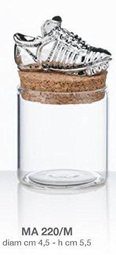 Barattolino portaconfetti vetro - scarpetta da calcio - laminata argento su tappo d.cm 4,5 h.cm 5,5 made in italy