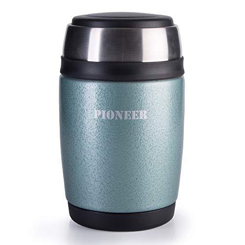 Pioneer Thermo-Speisegefäß 0,48 L mit Löffel, Edelstahl Doppelwandig Vakuum-Isolierbehälter 8 Stunden Heiß 24 Stunden Kühl BPA-Frei - Metallisch-Grün