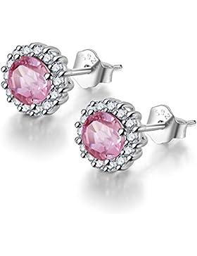 COLORFEY Damen Blume 925 Silber Ohrstecker Handgefertigt mit Eleganz Echte Edelstein Turmalin Pink Ohrring für...