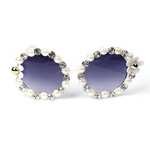 Manyo Sonnenbrille, rund, mit Blume und Strass, Vintage-Stil, Retro-Stil, Party, Strand