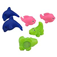 Toyvian 6PCS Baby Bath Blue Dolphin Toys Lighting Floating Baby Bathtub Pink Whale Green Crocodile Toy Water Sense Flashing Shower Toy