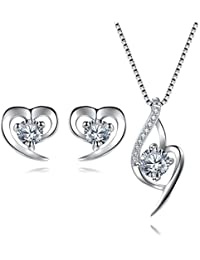293f87d6bd2 EVERU Sterling Silver Jewellery Sets for Women, Heart Pendant Necklace &  Heart Earrings with Sparkle AAA Cubic Zirconia with an…