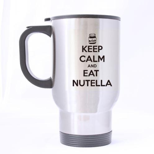 personnalisé Funny Quotes Motif Keep Calm and Eat Nutella Mug 100% de matériaux en Acier Inoxydable Tasses de Voyage (Sliver) - 396,9 Gram Tailles