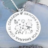 "Collar de Plata de 1º LEy 925. grabado láser""GRACIAS PROFE POR ENSEÑARNOS CON EL CORAZON"". Gargantilla para profesor. Envio GRATIS!"