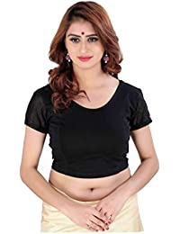 Fressia Fabrics Women's Cotton Lycra Stretchable Readymade Saree Blouse 151_black_string