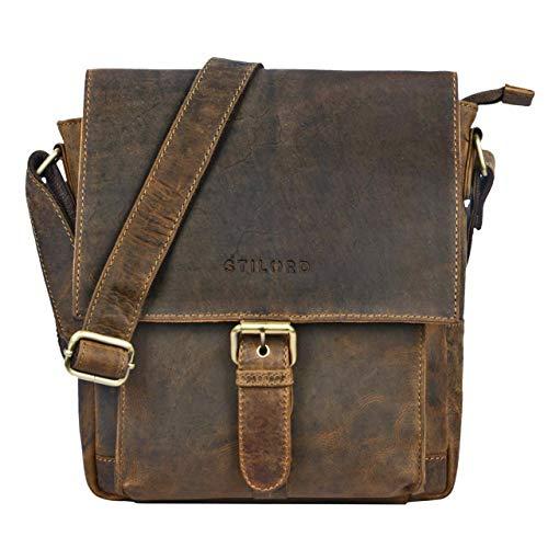 STILORD \'Nevio\' Herrentasche Leder Umhängetasche kleine Messenger Bag Elegante Handtasche im Vintage Design Schultertasche für 10.1 Zoll Tablet iPad echtes Leder, Farbe:mittel - braun