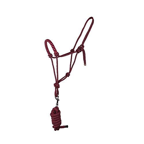 Knotenhalfter mit Strick für Bodenarbeit in tollen Farben Pony, Cob, Full, Groesse:COB, Farbe:dunkelrosa