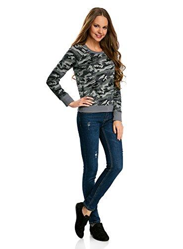 oodji Ultra Damen Baumwoll-Sweatshirt Basic Grau (2025O)