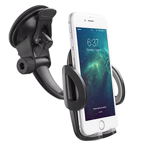 Avolare Handyhalterung Auto Halterung Phone Halter Ständer mit Windschutzscheibe Armaturenbrett kompatibel mit Samsung Galaxy S5, S4, S3, Note3 und andere Smartphones(schwarz)