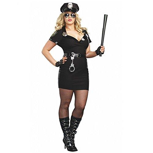 XXL Kostüm Polizistin Kleid schwarz Cop Polizei-Mütze Fasching Polizei Uniform (Cop Kleid)