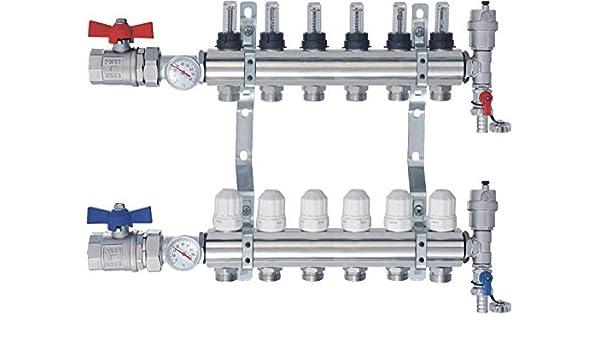 4 Heizkreise Heizkreisverteiler m Topmeter Flussmesser Kugelh/ähne Thermometer NORDIC TEC