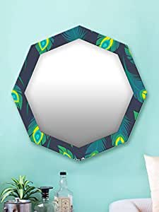 999Store Printed Green Peacock Feathers Octagon Mirror (MDF_17X17 Inch_Multi)