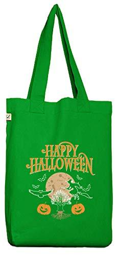 ShirtStreet Hexen Grusel Gruppen Bio Baumwoll Jutebeutel Stoffbeutel Happy Halloween 2, Größe: onesize,Kelly Green