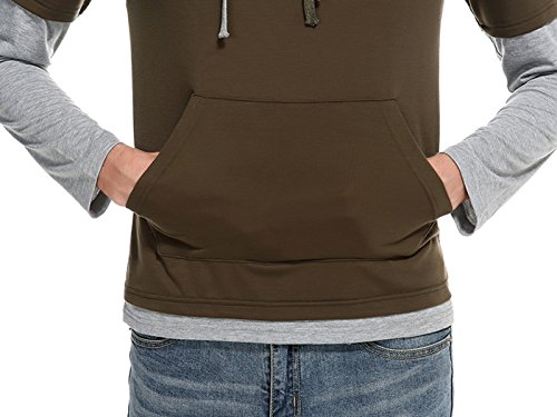 Whatlees Herren Urban Basic reguläre Passform T-shirt mit Kapuzer B771-Brown