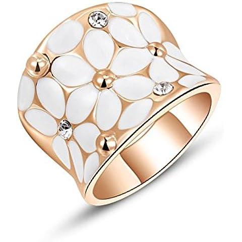 Bling Gioielli Donna 18ct placcato oro rosa/platino Olio Goccia Fiore fasce