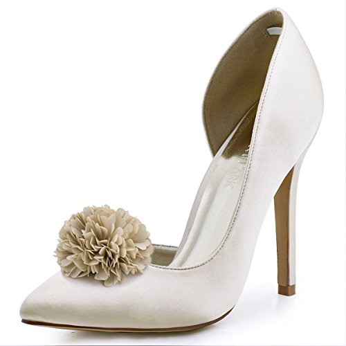 ElegantPark HC1601 Chic Escarpins Satin Femme Talon Haut Aiguille Bout Pointu D'orsay Chaussures de mariee Soiree