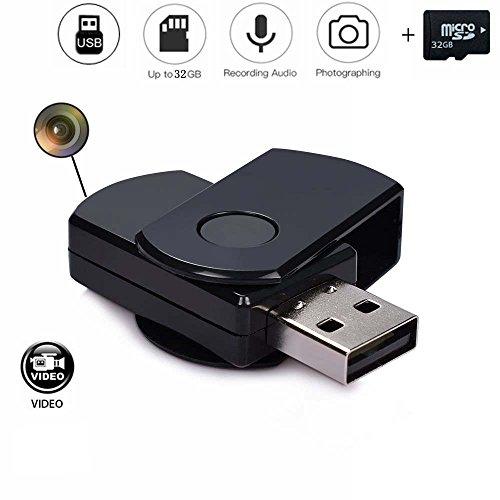 codomoxo® Schlüsselanhänger Schlüssel USB mit Mini Kamera Spion HD Infrarot Bewegungserkennung USB-Stick ausziehbarem Micro-Video Recorder mit seinem, 32 Go