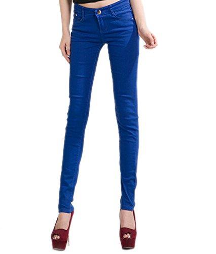 DELEY Donne Solide Basic Pantaloni Skinny Leg Stretch Fit Juniors Jeans Jegging Blu reale