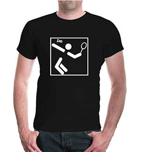 buXsbaum® Herren Unisex Kurzarm T-Shirt bedruckt Badminton-Piktogramm | Federball Ballsport Schläger | M black-white Schwarz
