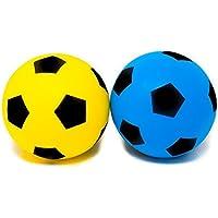 E-Deals Confezione da 2(Misura 4) in Morbida Spugna per Interni ed Esterni, Palla da Calcio, (2Colori scelti a Caso–Luce Blu, Rosso, Verde e Giallo)