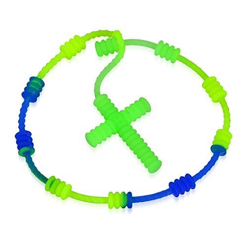 muck Fashion Light Green & Blue Fluorescent Gummi/Silikon-Gewelltes Kreuz Rosenkranz Art Religion Christian Armband ()