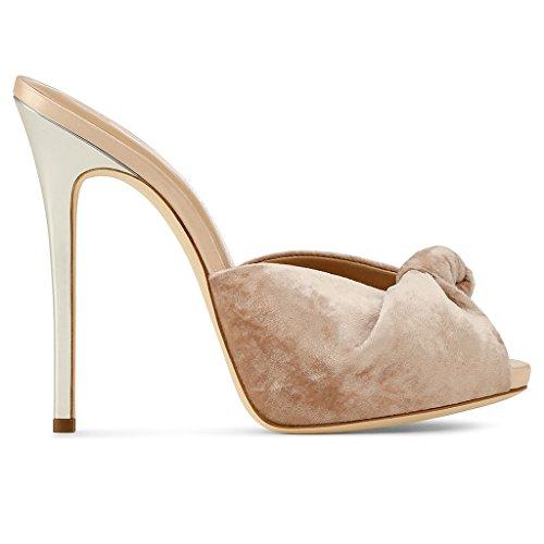 LYY.YY Frauen High Heel Sandalen Knoten Sexy Hausschuhe Bankett Schuhe Mules Schuhe Schmetterling Knoten Wasserdichte Plattform (Absatzhöhe: 11-13Cm),Nudecolor,44