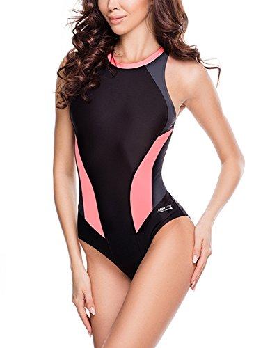 Aqua Speed Damen 5908217664006Nina Schwimmen Anzug, Schwarz/Grau/Koralle, Größe 36