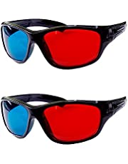 HRINKAR Anaglyph 3D Glasses for Mobile Phone, Computer, Laptop, TV, Magazines and Projector, Red and Cyan - Pack of 2