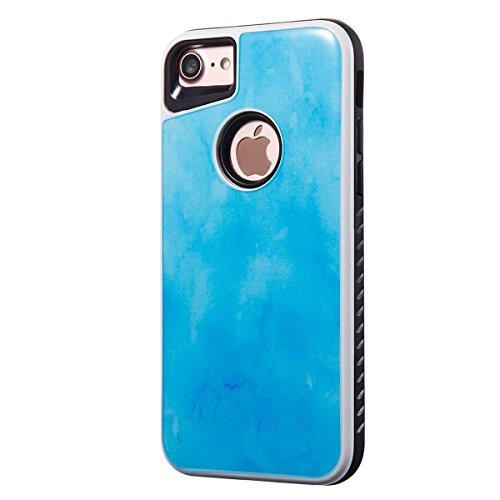 iPhone 7 Coque Coquille Silicone en Tpu Housse Etui iPhone 7 Orange Romantique Élégant Beau Pierre Motif [Tpu+Pc]Ultra Mince Thin Transparent Flexible Doux Caoutchouc Couverture Etui de Protection Lov bleu