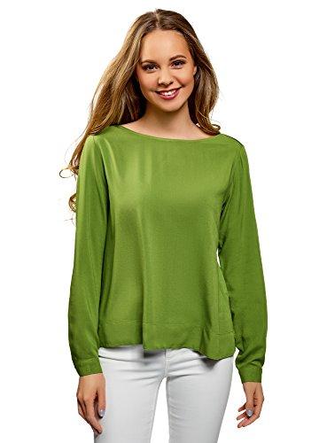 oodji Ultra Mujer Blusa de Viscosa Básica, Verde, ES 36 / XS