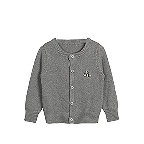 Little Girls Kids Toddler Spring Autumn Cute Bee Embroidery Knit Cardigan Front Button Sweater 3T